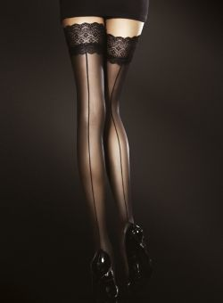 Fiore Celia 30 den (Size 2) Stay-Up Stockings (Black)