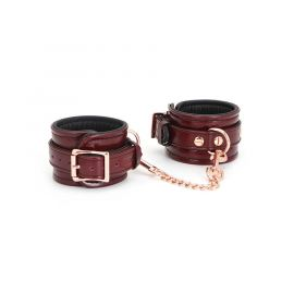 Liebe Seele Japan Wine Red Leather Handcuffs with Rose Gold Hardware