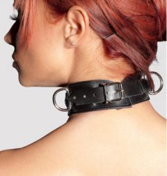 Zado Hardcore Black Leather D-Ring Collar