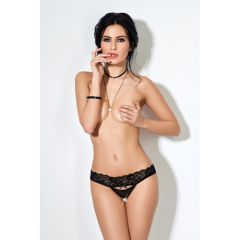 Le Frivole Lace Panties With Straps And Open Crotch (Small/Medium)