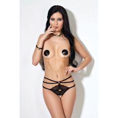 Le Frivole Crotchless Straps Panties With Lace - Black (Medium/Large)