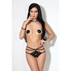 Le Frivole Crotchless Straps Panties With Lace - Black (Extra Small/Small)