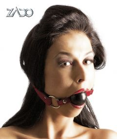 Zado Hardcore Red/Black Leather Silicone Ball Gag