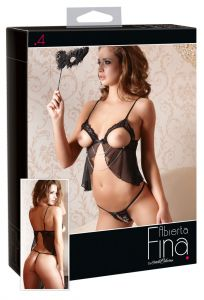 Cottelli Collection - Open Cup Teddy & Crotchless G String (Size S)