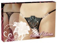Cottelli Collection - Crotchless Rhinestone Lace G-String (Size S/M)