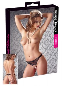 Cottelli Collection - Crotchless Pearl Panties (Size M)