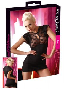 Cottelli Collection - Black Mini Dress with Lace Bust (Size S)