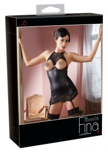 Cottelli Collection - Open Cup Wet Look Chemise (Size S)