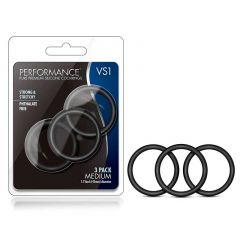 Performance Vs2 Pure Premium Silicone Cockrings - Medium (Black)