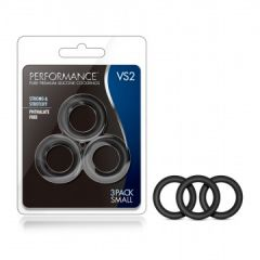 Performance Vs2 Pure Premium Silicone Cockrings - Small (Black)