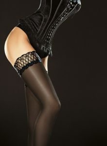 Fiore Contessa 40 den (Size 2) Stay-Up Stockings Black