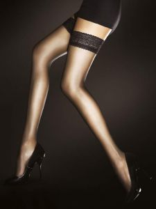 Fiore Edith 8 den (Size 2) Stay-Up Black Stockings