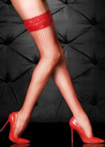 Fiore Liza 40 den (Size 2) Stay-Up Fishnet Stockings (Red)