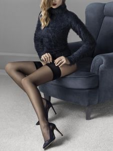 Fiore Glam 20 den (Size 2) Stay-Up Stockings Black
