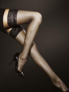 Fiore Liza 40 den (Size 2) Stay-Up Fishnet Stockings (Black)