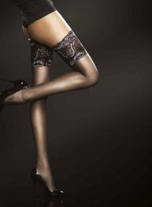 Fiore Sandrine 20 Den (Size 2) Stay-Up Stockings (Black)