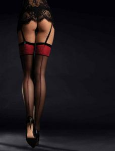 Fiore Scarlett 20 den (Size 2) Stockings (Black/Red)
