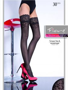 Fiore Simona 30 den (Size 2) Stay-Up Stockings Black