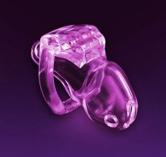 Chastity Device: Swiss Made Holy Trainer v3 Men's CLEAR PINK (Small) 45mm Wide