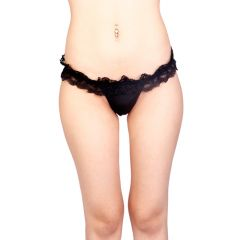 Vixson Lace Panties With Open Back Black - Small/Medium