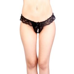 Vixson Lace Crotchless G-String With Beads Black - Small/Medium